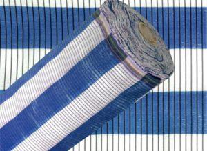 Malla de sombreo azul y blanca